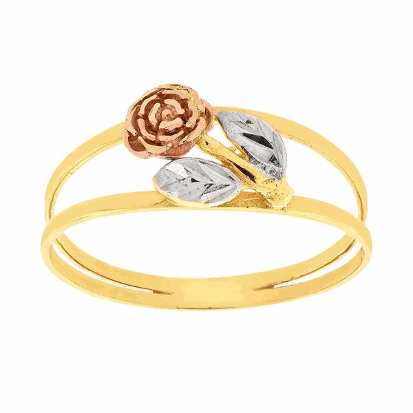 Anel Rosa Tricolor Pequeno em Ouro 18K