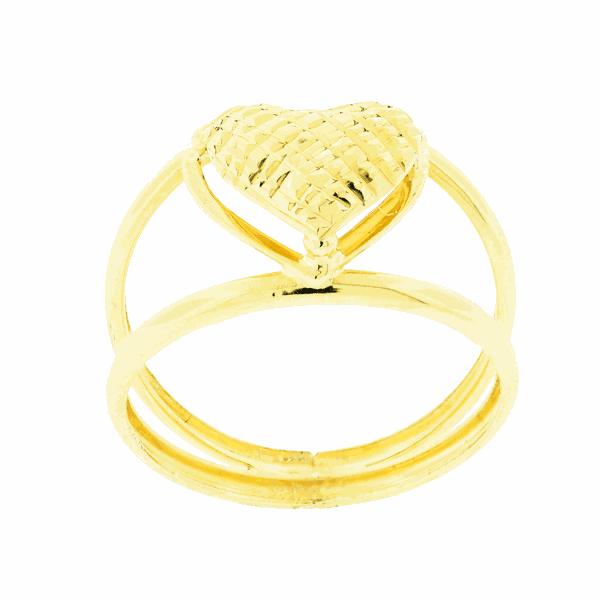 Anel Largo Coração Diamantado Ouro 18K