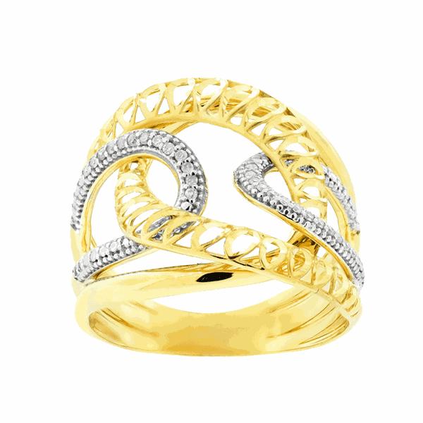 Anel Entrelaçado com Diamantes Ouro 18K