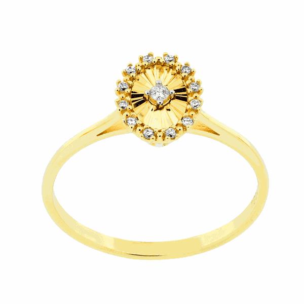 Anel Detalhe Oval Diamantado com Diamantes Ouro 18K