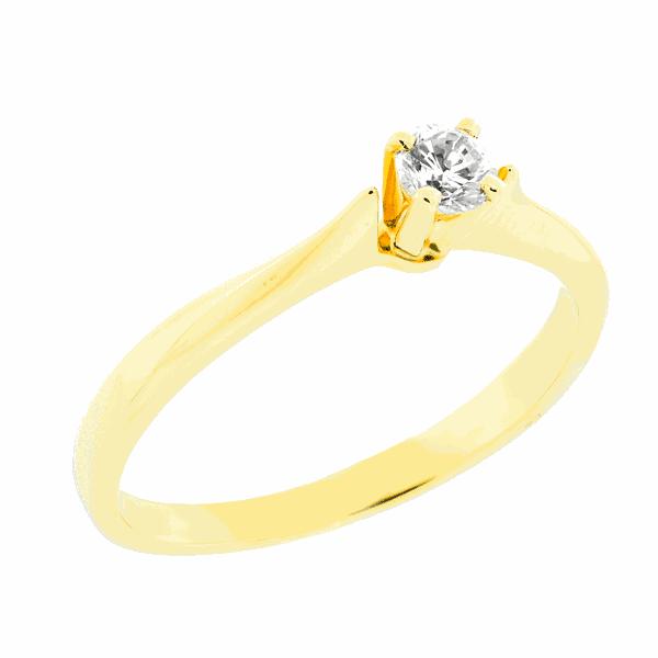 Anel em Ouro 18K Solitário Cálice de Diamante