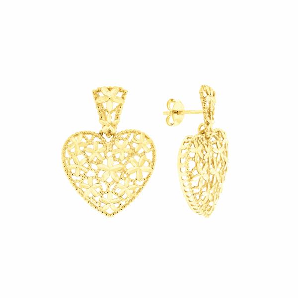 Brinco de Ouro 18K Coração Grande Detalhe Flores Vazado