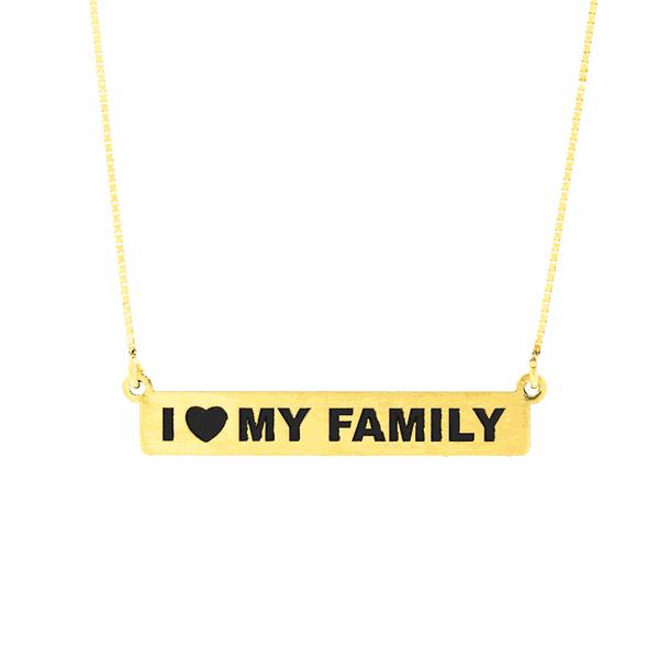 Gargantilha de Ouro 18K I LOVE MY FAMILY