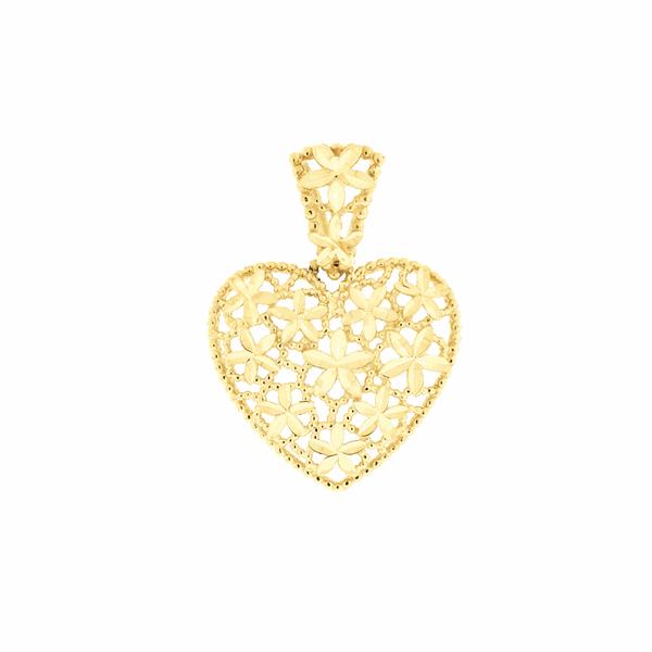 Pingente de Ouro 18K Coração Flores Diamantado Pequeno