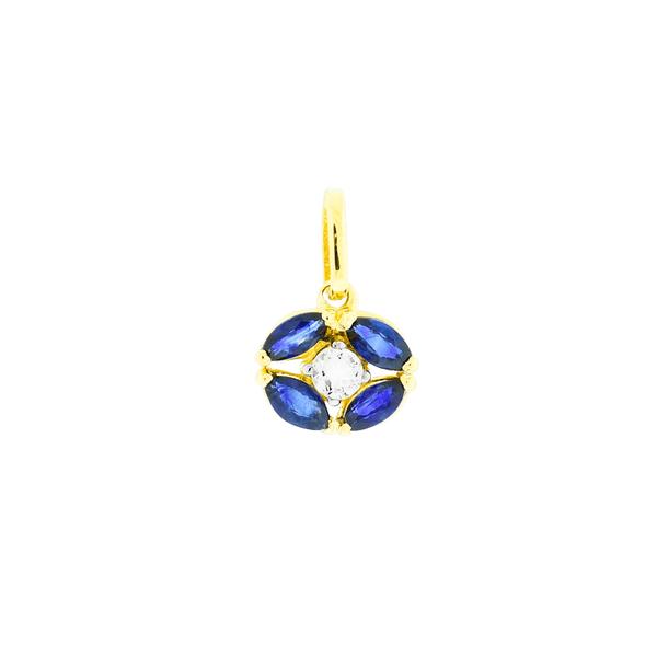 Pingente de Ouro 18K com Pedras de Safira e Cristal