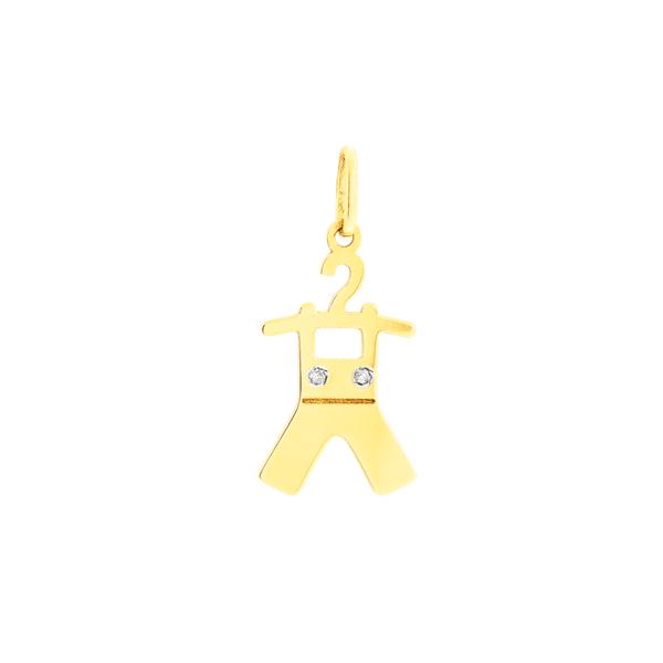 Pingente de Ouro 18K Roupa de Menino no Cabide