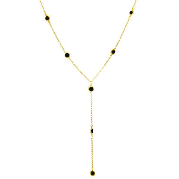 Colar Gravata Semijoia Banho de Ouro 18K com Zircônia Negra
