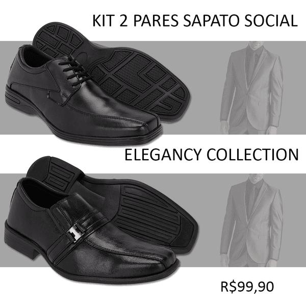 7ad4c1a97a Kit Sapato Social 2 Pares Masculino Preto Couro Confortável ...