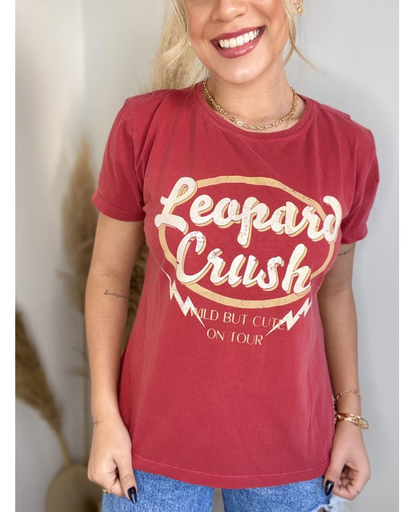 T-SHIRT LEOPARD - RED CORAL