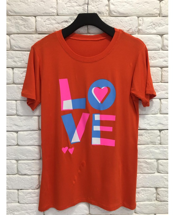 TSHIRT NEW COLORS LOVE - CORAL