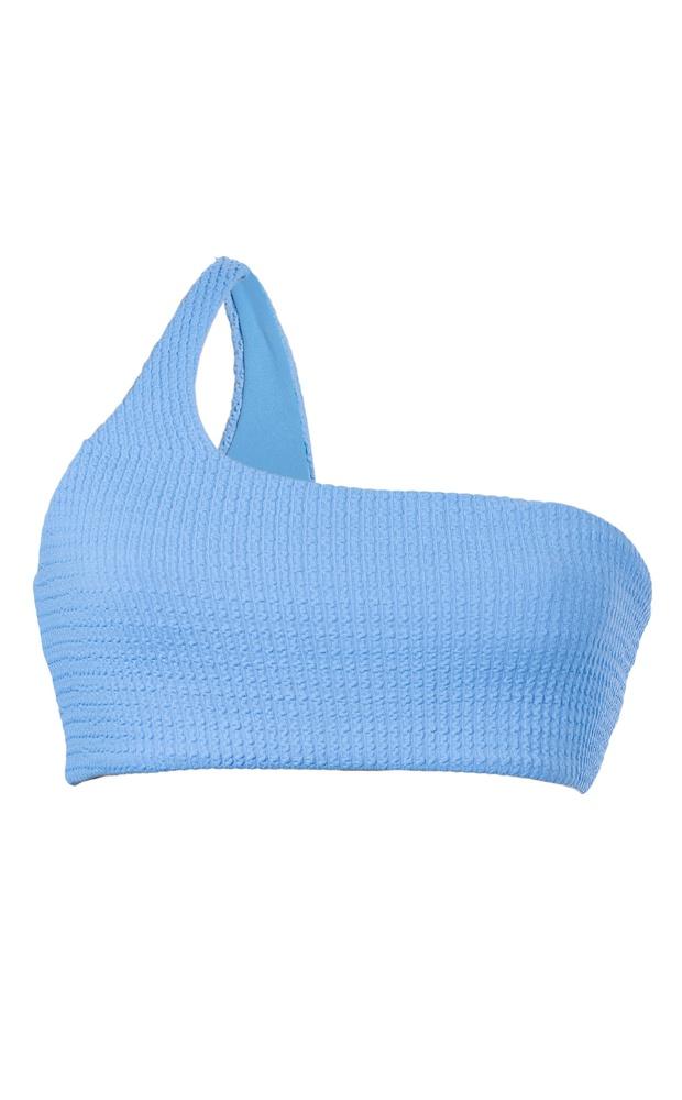 Azul Texturizado - Top Um Ombro Só - LEFAH