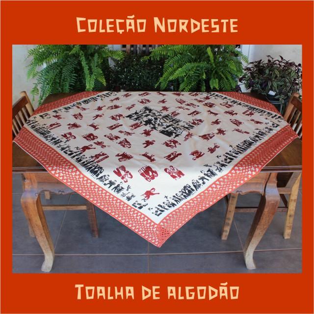 Toalha de Mesa Algodão - Cordel Bordô