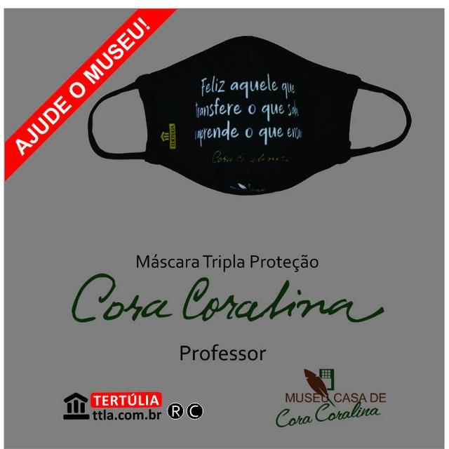 Máscara Poética Cora Coralina Tripla Camada Professor - Preta