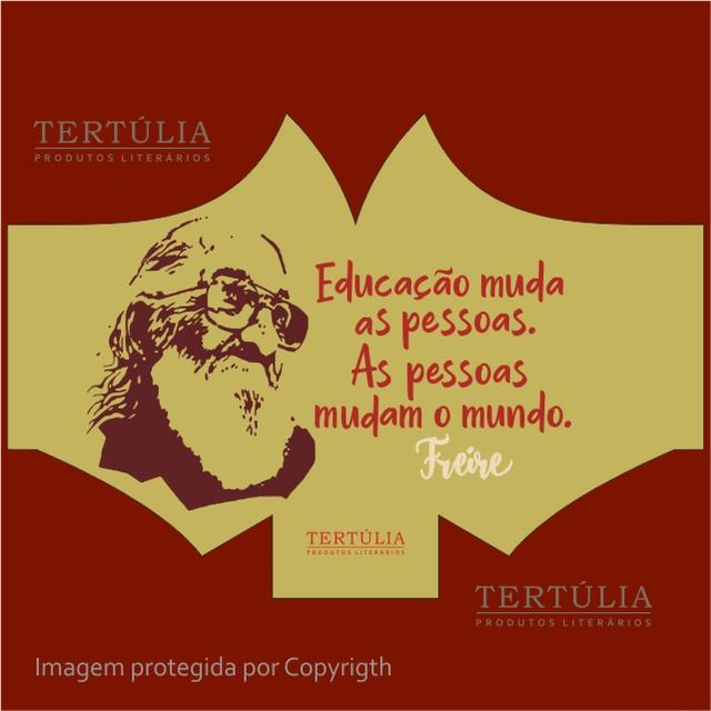 Máscara Poética Paulo Freire Educação Tripla Camada - Cru