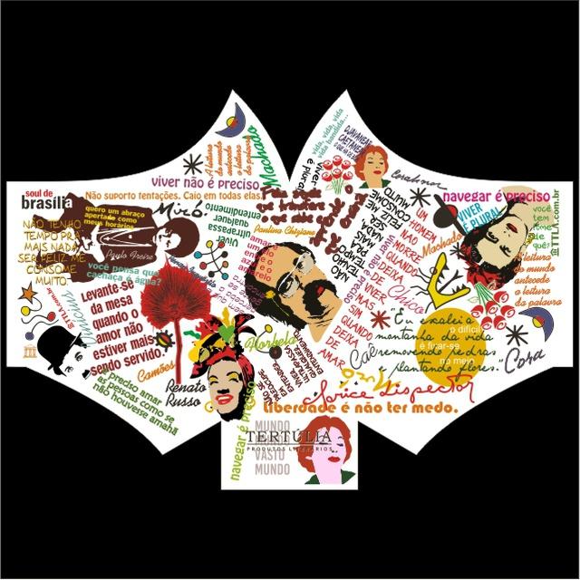 Máscara Poética Tertúlia-Autores Tripla Camada - Branca