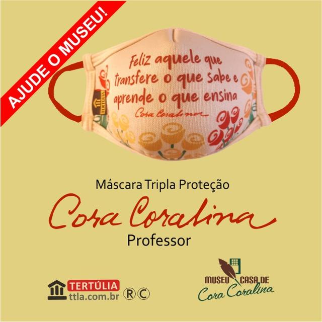 Máscara Poética Cora Coralina Tripla Camada Professor - Cru