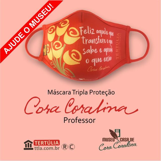 Máscara Poética Cora Coralina Tripla Camada Professor - Vermelha