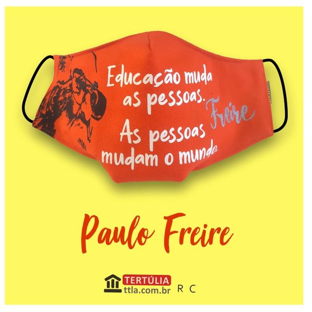Máscara Poética Paulo Freire Educação - Laranja