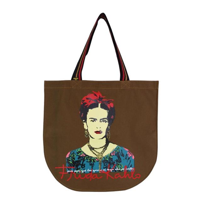 Bolsa Redonda Frida Kahlo Píes Marrom