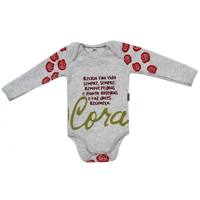 Body Bebê Cora Coralina Manga Longa Gelo