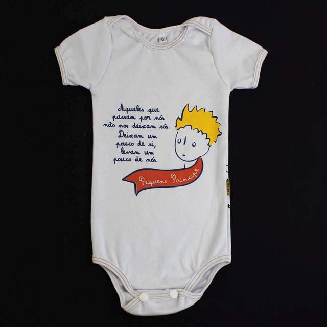Body Bebê Pequeno Príncipe Manga Curta Branco