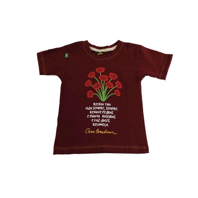 Camiseta Infantil Cora Coralina Recria Bordô
