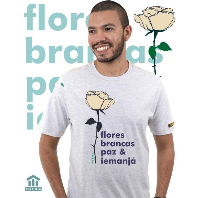 Camiseta Iemanjá Flor Gelo