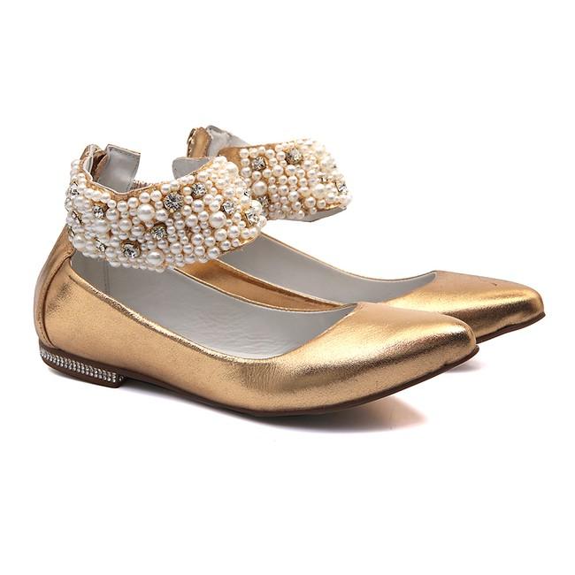 Sapato de Tornozeleiras Cristal Ouro