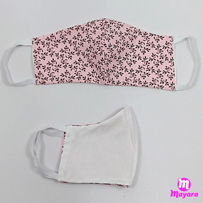 Máscara Rosa Estampada (tecido dublo)
