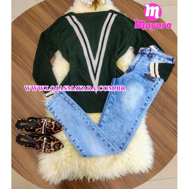 Calça Jeans Melinda c/ detalhe em zíper - Mescla Claro
