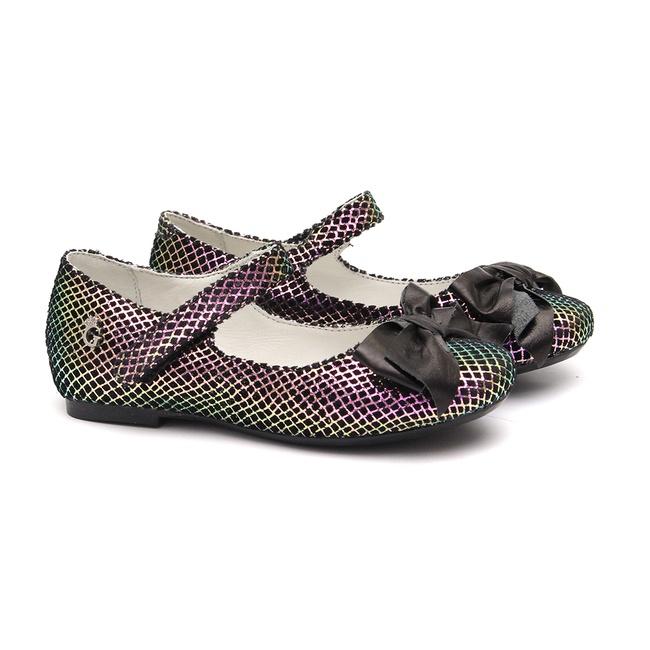 Sapato Boneca Veludo Snake Preto