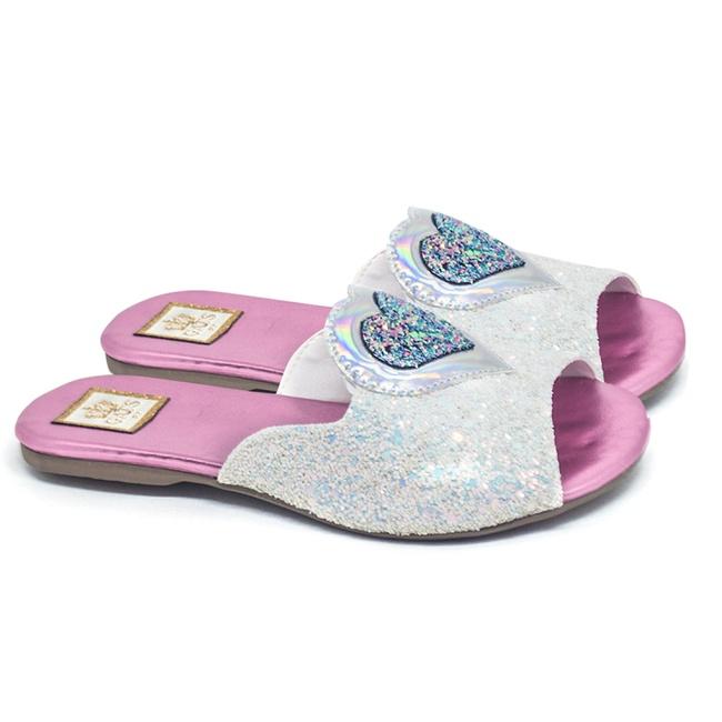 Flat Infantil Coração Glitter Branco
