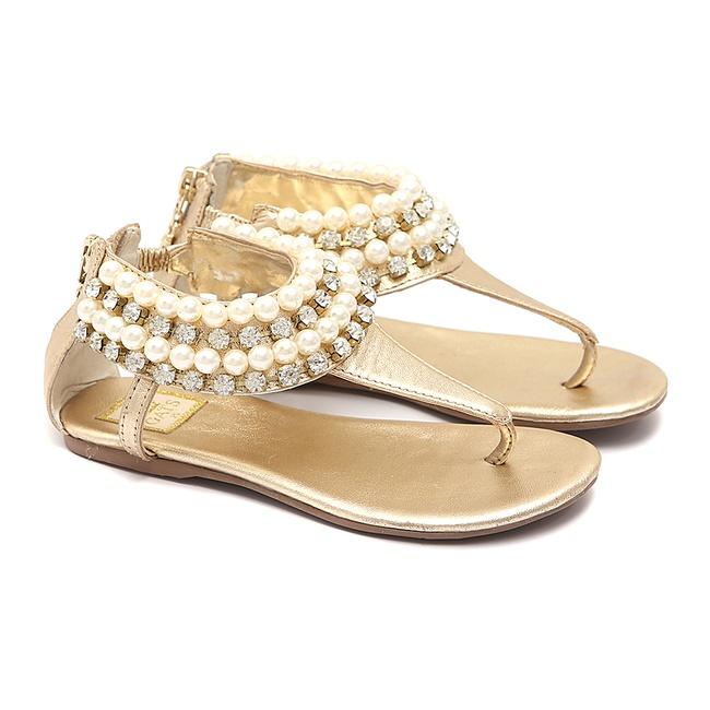 Sandália Dourada De Pérolas Feminina Infantil Gats