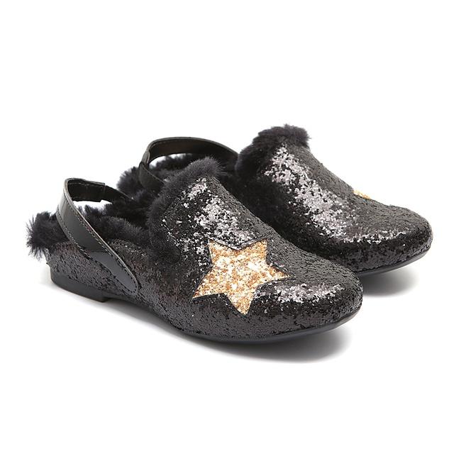 Mule de Glitter Preto Infantil Gats