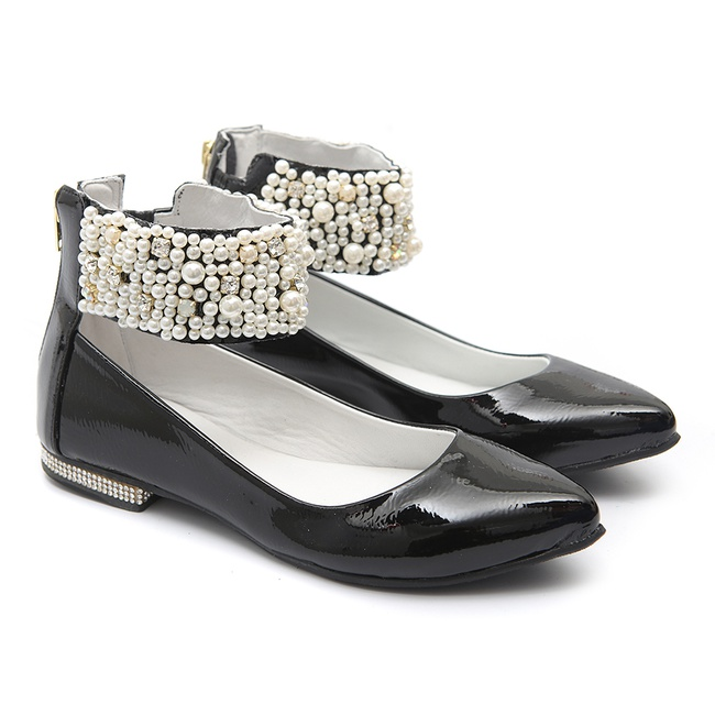 Sapato de Tornozeleiras Verniz Preto Infantil Gats