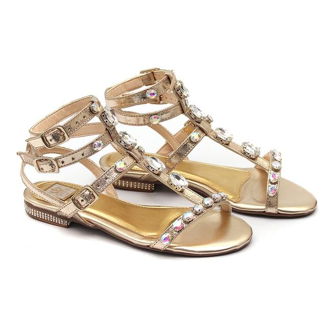 Sandália Metalizada Dourada Bordada Infantil Gats