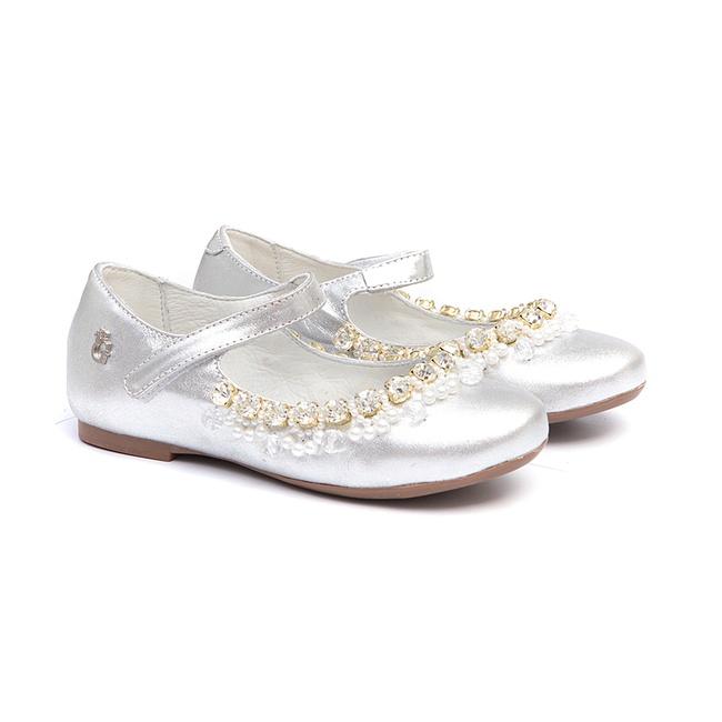 Sapato Feminino Bordado Metalizado Prata