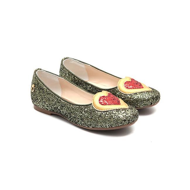 Sapatilha Glitter Coração Verde