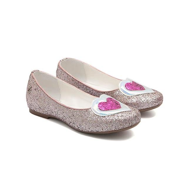 Sapatilha Glitter Coração Rosa