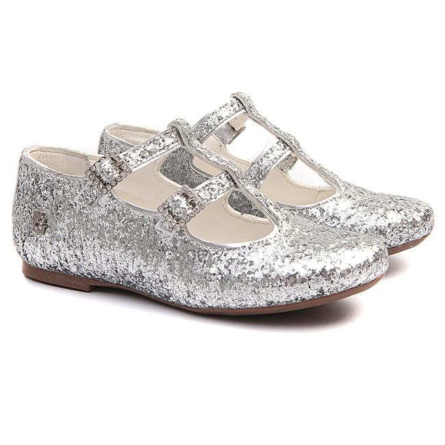 Sapatilha de Glitter Prata Infantil Gats