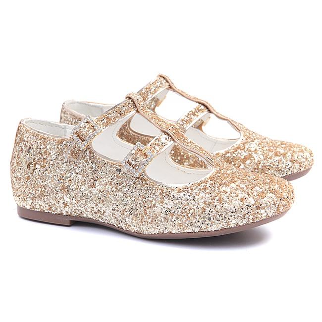 Sapatilha de Glitter Dourada Infantil Gats