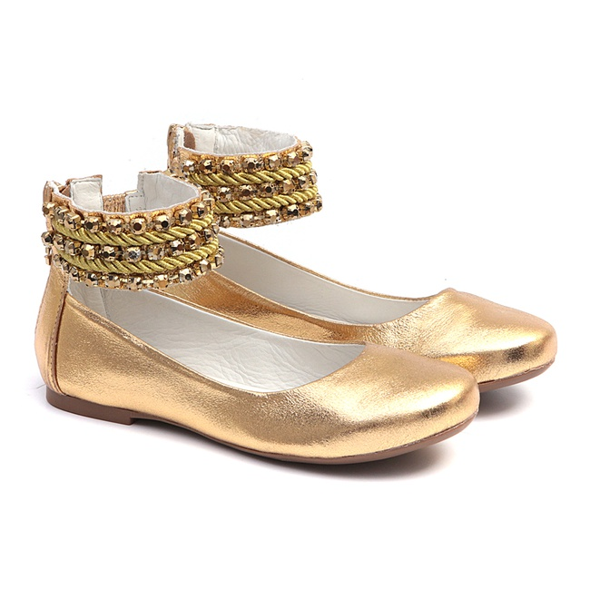 Sapato Tornozeleiras Bordado Cristal Ouro
