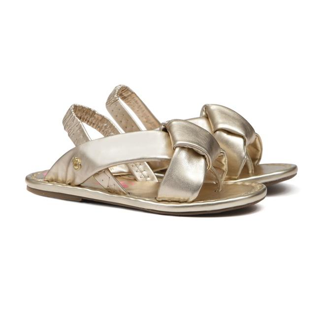 Sandália de Laço Dourada Infantil Gats