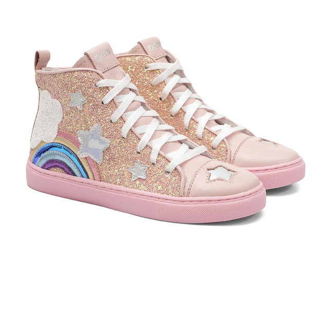 Tênis Cano Alto Glitter Rosa
