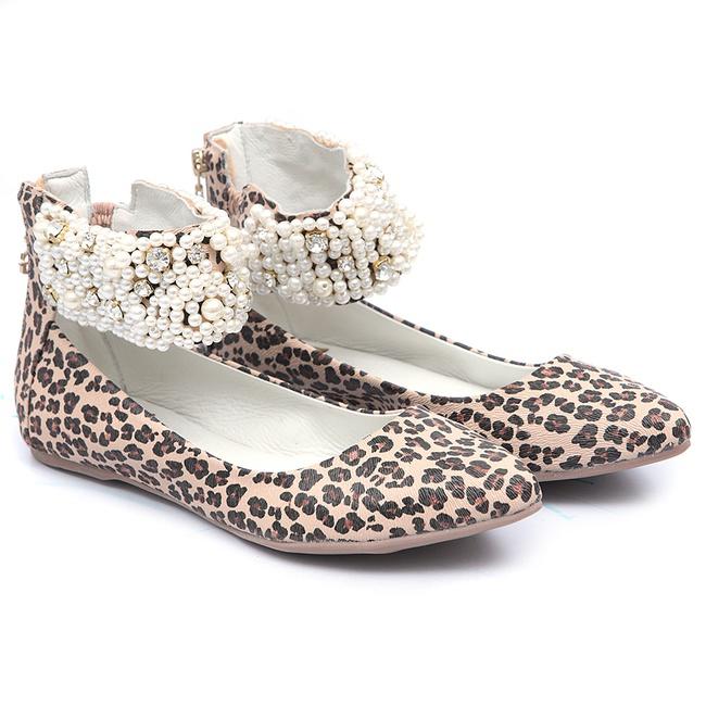 Sapato Bico Fino de tornozeleiras Animal Print Infantil Gats