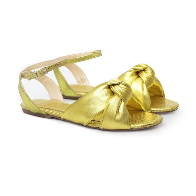 Sandália Rasteira Laço Amarelo