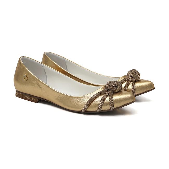 Sapatilha Bico Fino Glam Dourado