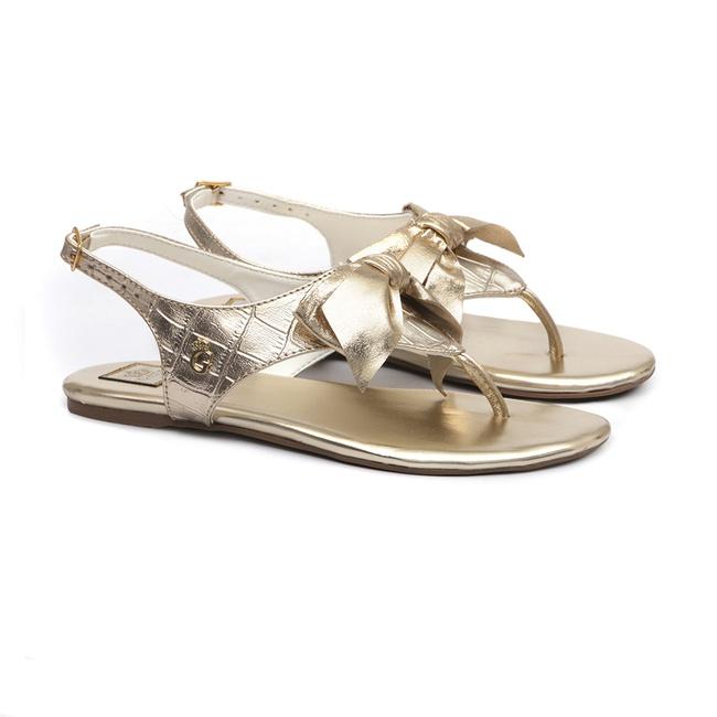 Sandália Laço Croco Dourado