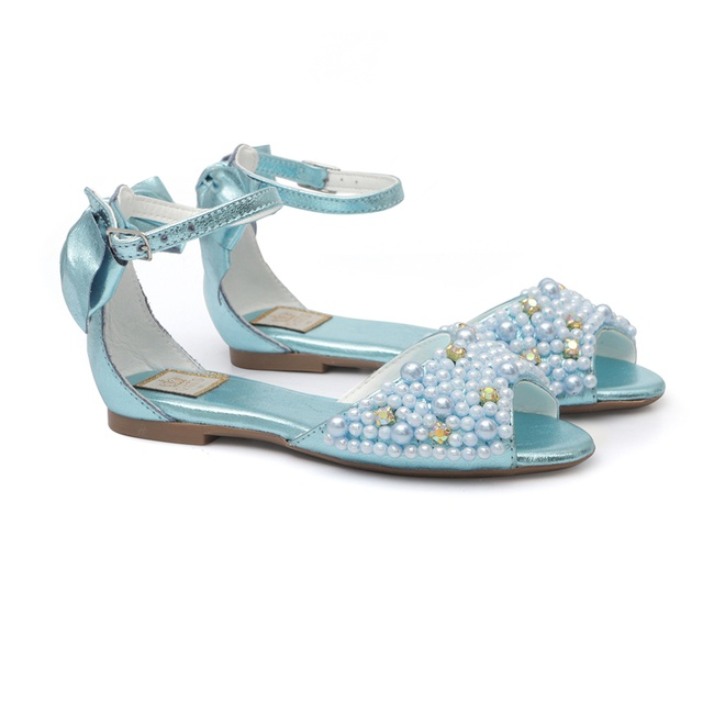 Peep Toe Bordado Azul