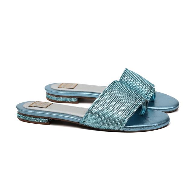 Flat Malha Strass Azul